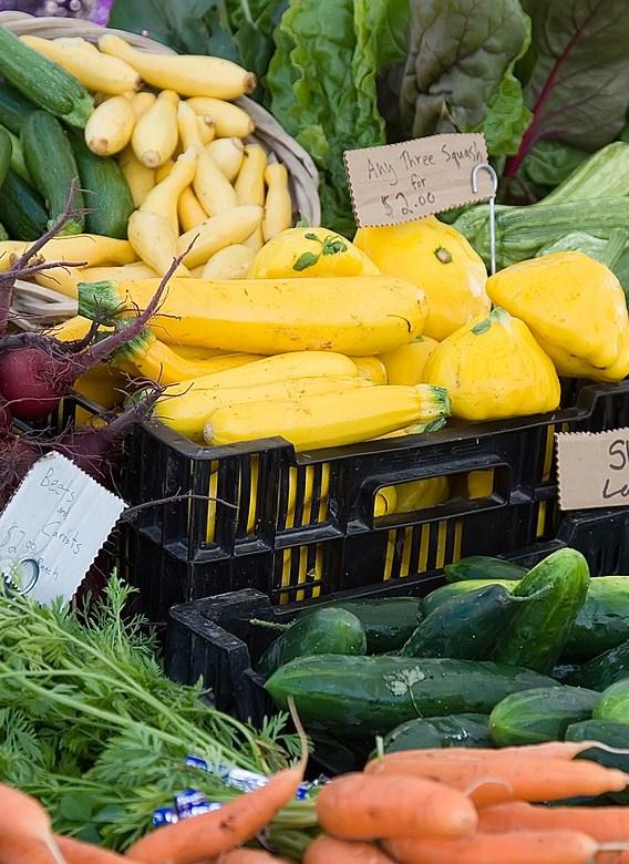 Fresh summer organic vegetables at the Port Townsend Farmers market