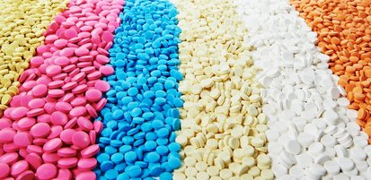rows of colored pills